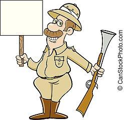 dessin animé, grand, fusil, tenue, grand, chasseur, jeu, signe.