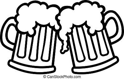 dessin animé, grandes tasses, bière, bonne disposition