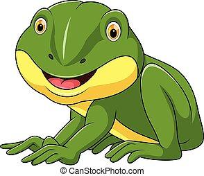 dessin animé, grenouille, peu