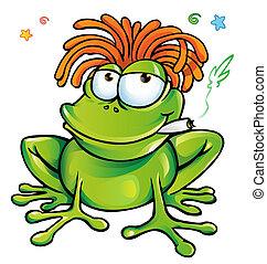 dessin animé, grenouille, rasta