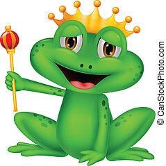 dessin animé, grenouille, roi