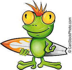 dessin animé, grenouille, surfeur