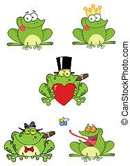 dessin animé, grenouilles