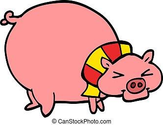 Debout graisse cochon sourire dessin anim heureux - Dessin cochon debout ...