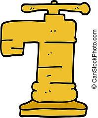 dessin animé, griffonnage, or, plaqué, robinet
