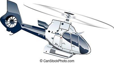 dessin animé, hélicoptère