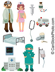 dessin animé, hôpital, icône