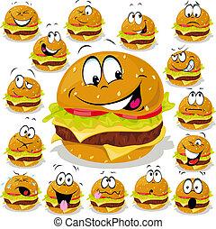 dessin animé, hamburger, illustration