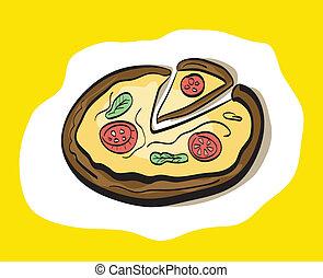 dessin animé, hand-drawn, pizza