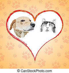 dessin animé, heart., chien, chat