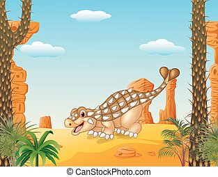 dessin animé, heureux, ankylosaurus