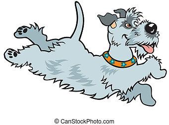 dessin animé, heureux, chien