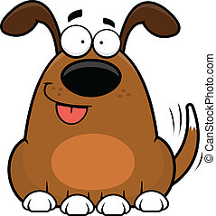 dessin animé, heureux, chien, rigolote