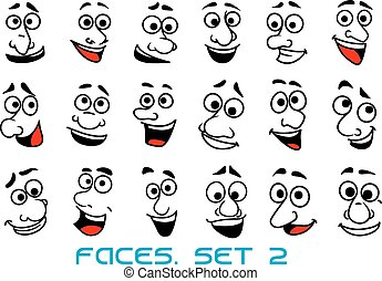 dessin animé, heureux, humain, émotions, faces