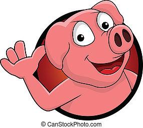 dessin animé, heureux, isolé, cochon