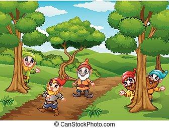 dessin animé, heureux, nain, forêt