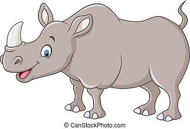 dessin animé, heureux, rhinocéros, debout
