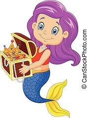 dessin animé, heureux, sirène