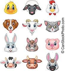 dessin animé, heureux, tête animale
