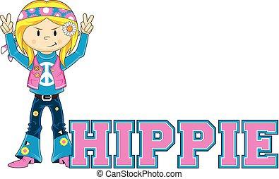 dessin animé, hippie
