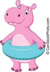 dessin animé, hippopotame, à, anneau gonflable