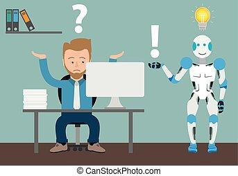dessin animé, homme affaires, question, bureau, robot, réponse
