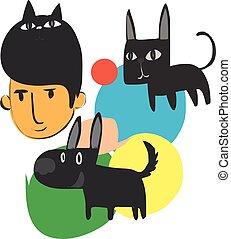 dessin animé, homme, caractère, chien, chat