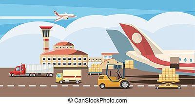 dessin animé, horizontal, style, logistique, bannière