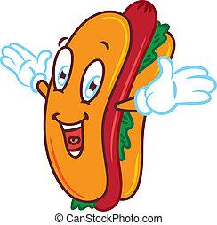 dessin animé, hot-dog