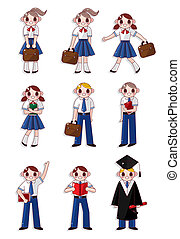 dessin animé, icône, étudiant
