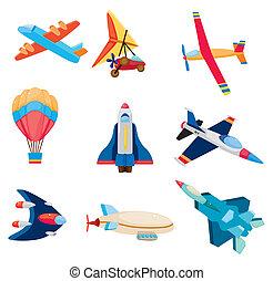 dessin animé, icône, avion