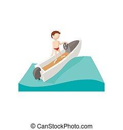 dessin animé, icône, bateau course