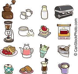 dessin animé, icône, café