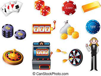 dessin animé, icône, casino