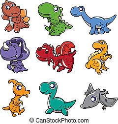 dessin animé, icône, dinosaure