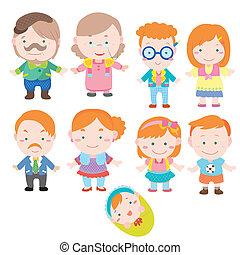 dessin animé, icône, famille