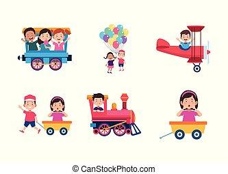 dessin animé, icône, gosses, ensemble, amusement, avoir, conception, coloré, heureux