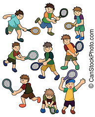 dessin animé, icône, joueurs tennis