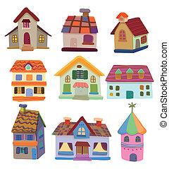 dessin animé, icône, maison