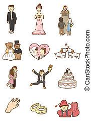dessin animé, icône, mariage