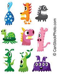 dessin animé, icône, monstre