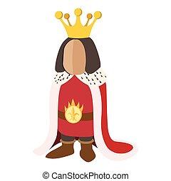 dessin animé, icône, moyen-âge, roi