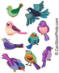 dessin animé, icône, oiseau