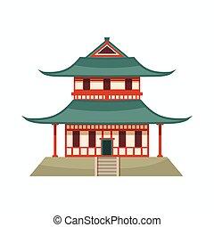 dessin animé, icône, pagode, style