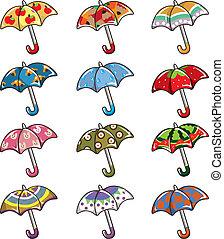 dessin animé, icône, parapluies
