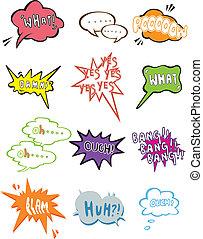 dessin animé, icône, parole, comique