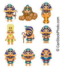 dessin animé, icône, pharaon
