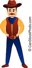 dessin animé, icône, sérieux, style, cow-boy