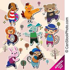 dessin animé, icônes animales