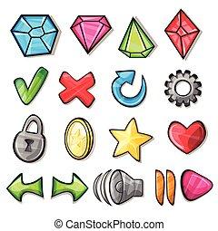 dessin animé, icônes, pour, jeu, interface utilisateur